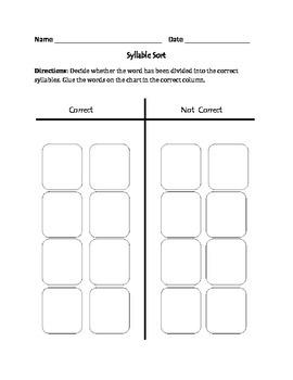 Syllables: Cut, Sort, & Paste Activity