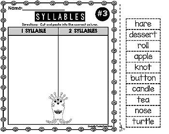 Syllables Worksheets