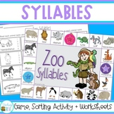 Syllables Game, Sorting Cards and Worksheets