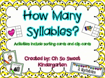 """Syllables """"How Many Syllables Activities"""""""