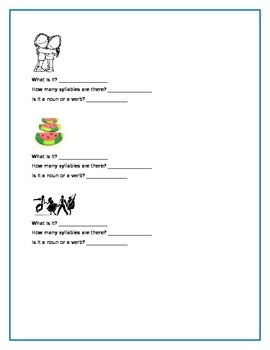Syllables, Nouns, and Verbs Practice