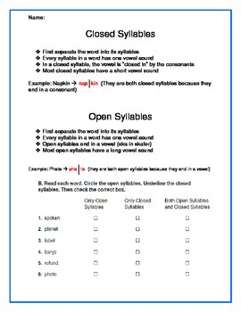 Syllables - Open/Closed