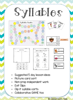 Syllables - Picture Sort, Non-prep, & GAME (Color & BW)