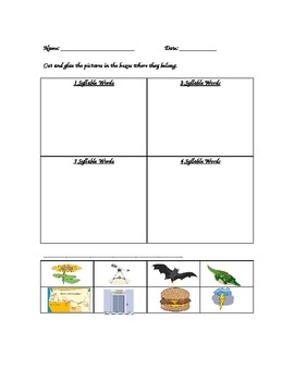 Syllables: Picture and Word Sorts (Gr. K-2, early interven