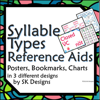 Syllable Type Review Posters, Pages, Bookmarks, Visual Reference 3 styles