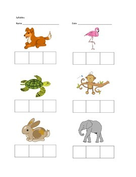 Syllables Pre-K Assessment worksheet