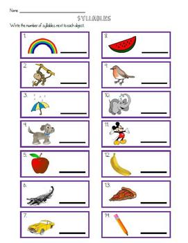 Syllables Review Worksheet