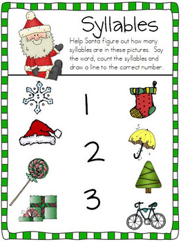Syllables , Sight Words and Santa in Kindergarten!