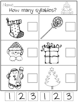 Santa in Kindergarten Syllables and Sight Words