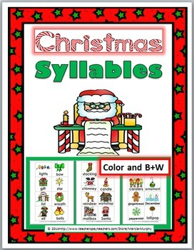 Syllables Sort BUNDLE - 3 Winter Themes