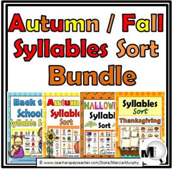 Syllables Sort BUNDLE – 4 Autumn Themes - Autumn Activitie