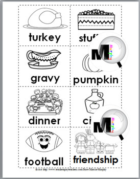 Syllables Sort: Thanksgiving Literacy Activity