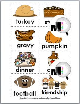 Syllables Sort: Thanksgiving Literacy Activity