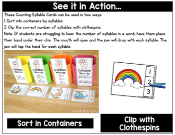 Syllables (Sorting and Clip Cards): Phonemic Awareness