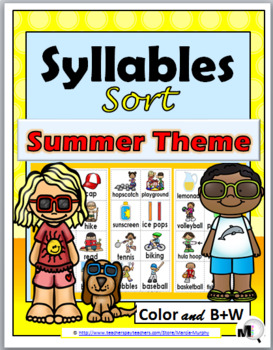 Syllables Sort - Summer Theme