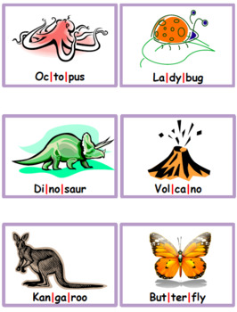 Syllables - Syllable Cards - 4 sets of 12 cards