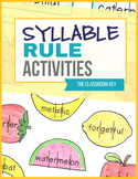 Syllable Rules Activities and Worksheets RF.2.3.C RF.3.3.C