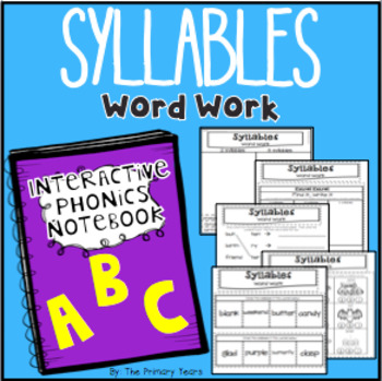 Syllables Word Work - Phonics Interactive Notebook