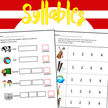 Syllables Worksheets - 36 by Dressed In Sheets | Teachers Pay Teachers