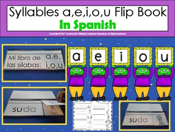 Syllables a,e,i,o,u Flip Book In Spanish