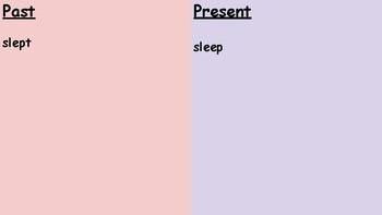 Syllables and Affixes Sort 6- Irregular Verbs Past and Present Tense