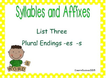 Syllables and Affixes Supplementary Material: Sort 3