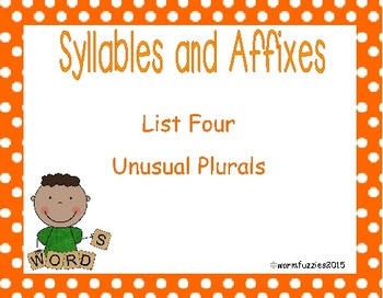 Syllables and Affixes Supplementary Material: Sort 4