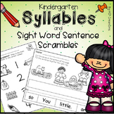 Syllables and Sight Words Sentence Scrambles Activities for Kindergarten