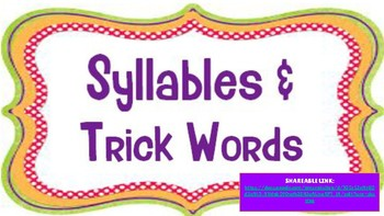 Syllables and Trick Words Google Slides Activity