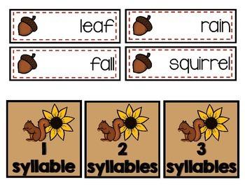 ELA - Syllables for Fall - FREEBIE