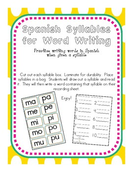 Syllables for Word Writing in Spanish