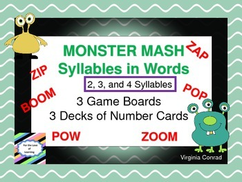 Syllables in Words Game Boards---Monster Mash