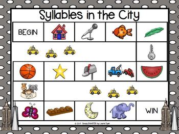 Syllables in the City:  NO PREP City Themed Syllables Game