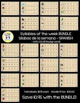 Syllables of the week:  Silabas de la semana BUNDLE!  COLOR Background!