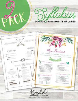 Syllabus 2-Pack • Syllabus Templates  #7 & #9 (GOOGLE DRAWINGS!)