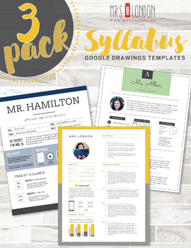 Syllabus 3-Pack • Nontraditional Syllabus Template #4, #5, #6 (GOOGLE DRAWINGS!)