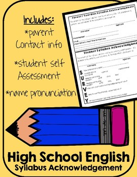 Syllabus Acknowledgment Form - High School English Classrooms