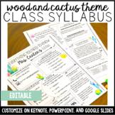 Syllabus Template Editable: Wood and Cactus Theme