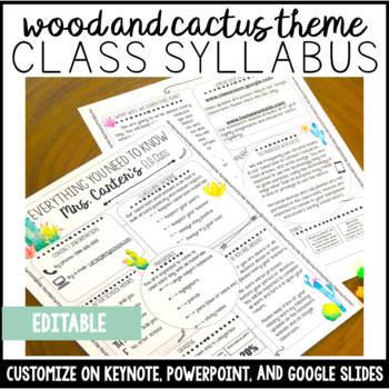 syllabus template editable wood and cactus theme by language is an art
