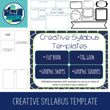 Creative Syllabus Templates By The Teal Paperclip  Tpt