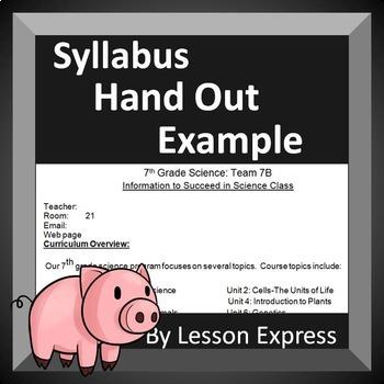 Syllabus Handout Example