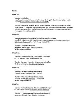 Syllabus: Introduction to Native American Religious Traditions