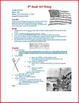 Syllabus-Junior High Middle American United States History