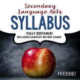 Syllabus & Kahoot Review Game for Secondary ELA [FULLY EDITABLE & FREE!]
