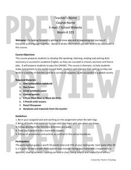 Syllabus & Letters Home - English & Spanish Translations