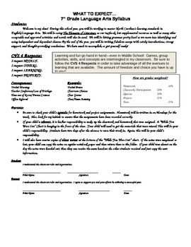 Syllabus:  Middle School English/Language Arts