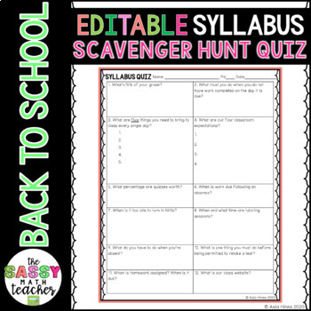 Syllabus (Welcome Letter) Quiz    Editable