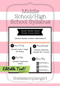 Middle School/High School Syllabus Template [Pink/White/Black]