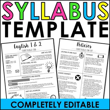 Syllabus Template By The Engaging Station  Teachers Pay Teachers