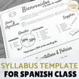 EDITABLE Syllabus Template for Secondary Spanish Class